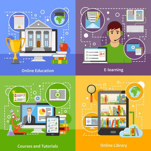 Education en ligne Concept 4 icônes plates vecteur
