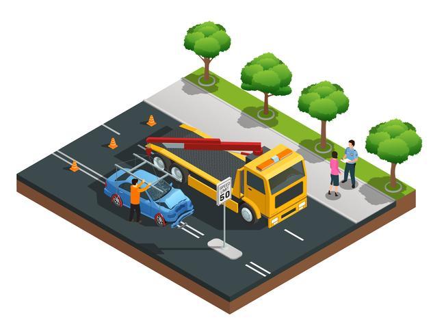 Composition isométrique d'accident de voiture vecteur