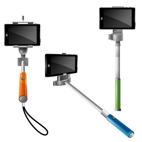 Monopodes Avec Pnones Pour Selfie vecteur
