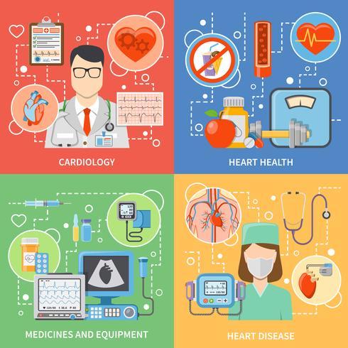 cardiologie plat 2x2 icônes définies vecteur