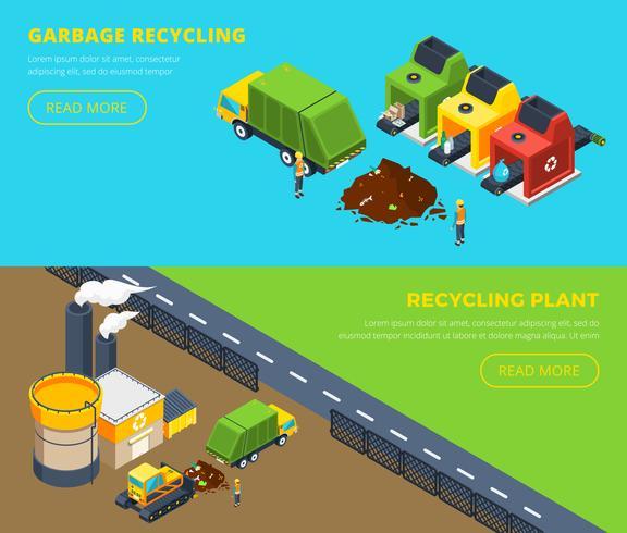Bannières isométriques de recyclage des déchets vecteur