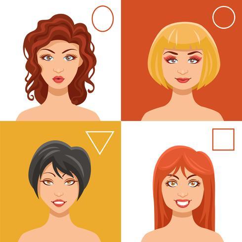 Ensemble de visages de femmes vecteur