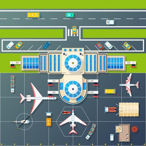 Parking à l'aéroport, vue de dessus, vue à plat Image vecteur