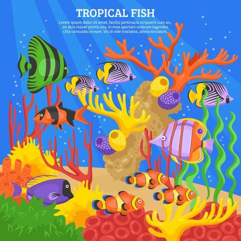 Fond de poissons tropicaux vecteur