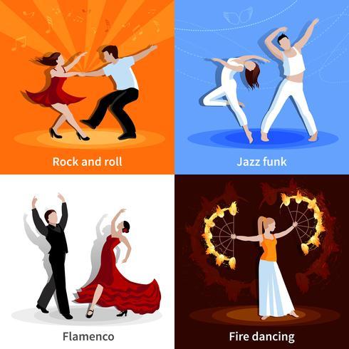 danser les gens 2x2 icônes définies vecteur