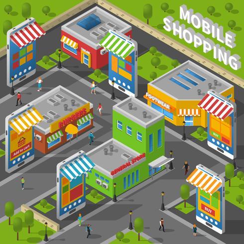 Mobile Shopping isométrique vecteur