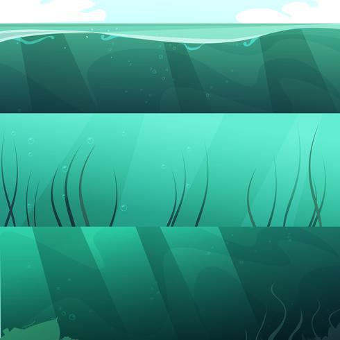 Jeu de bannières horizontales vert eau océan vecteur