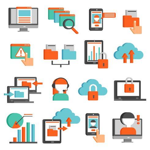 Technologies de l'information plat Icons Set vecteur