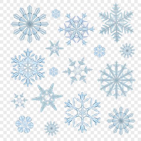 Flocons de neige bleu transparent vecteur