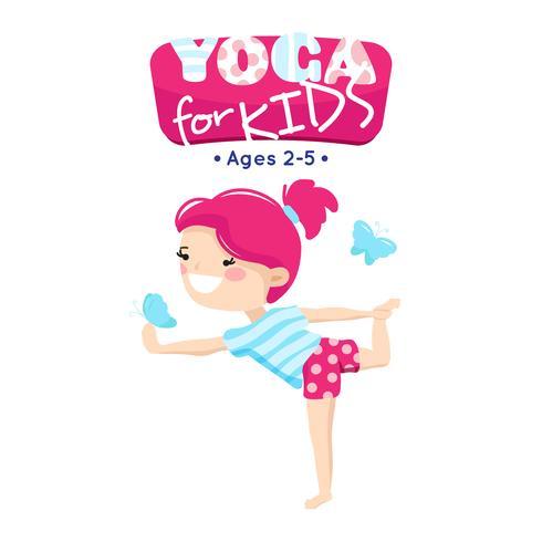 Cours de yoga pour enfants Illustration de logo coloré vecteur