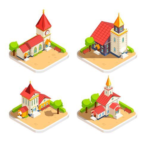 église 4 icônes isométriques vecteur