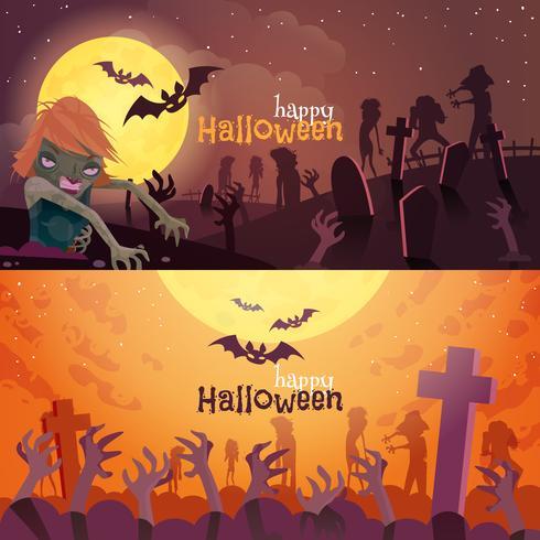 Jeu de bannières Halloween vecteur