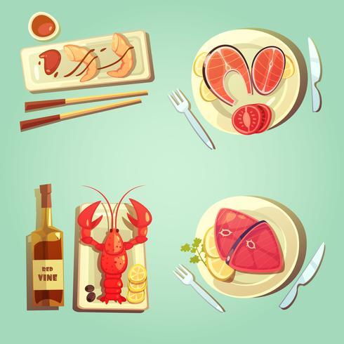 Icônes de dessin animé de fruits de mer vecteur