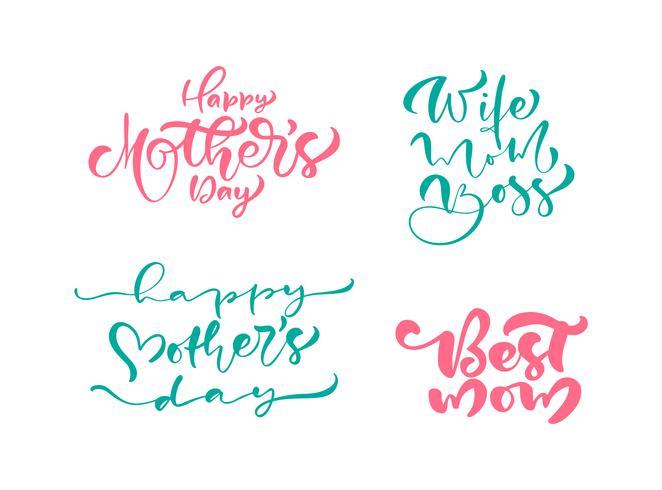Ensemble de phrases sur la fête des mères heureux. Texte de calligraphie de lettrage de vecteur. Citations dessinées à la main vintage moderne. Meilleure illustration de maman vecteur