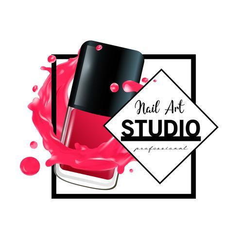 Modèle de conception de logo de studio Nail Art. vecteur