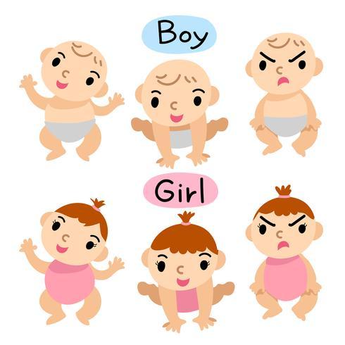 conception de vecteur de bébé garçon et fille