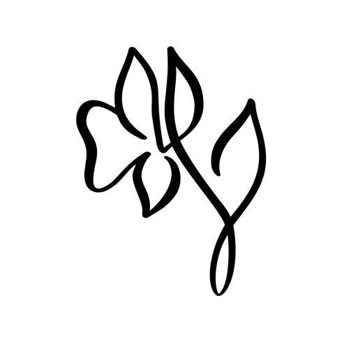 Main continue ligne dessin beauté logo logo calligraphie vecteur fleur. Élément de design floral printemps scandinave dans un style minimal. noir et blanc