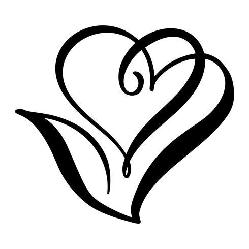 Forme de coeur icône vector Vintage scandinave et feuille. Peut être utilisé pour la conception de logo concept de soins de santé végétal, végétalien, écologique