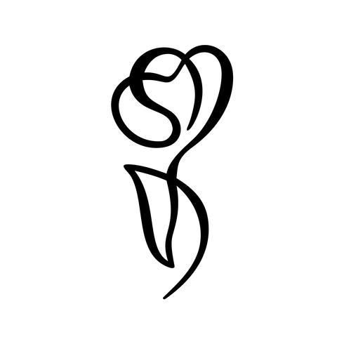 Concept de fleur rose. Main ligne continue de dessin vectoriel logo calligraphique. Élément de design floral printemps scandinave dans un style minimal. noir et blanc