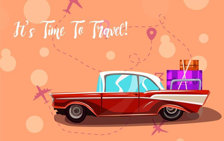 Voyage sur la route. Éléments de vacances. Il est temps de voyager texte. vecteur