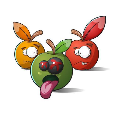 Des pommes terribles et drôles. La mort et la folie. vecteur