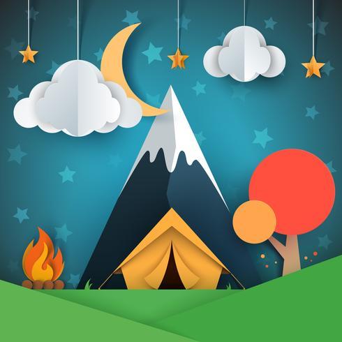 Paysage de papier dessin animé. Arbre, montagne, feu, tente, lune, nuage, étoile, illustration vecteur