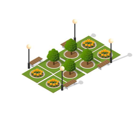 Paysage urbain de parc naturel vecteur