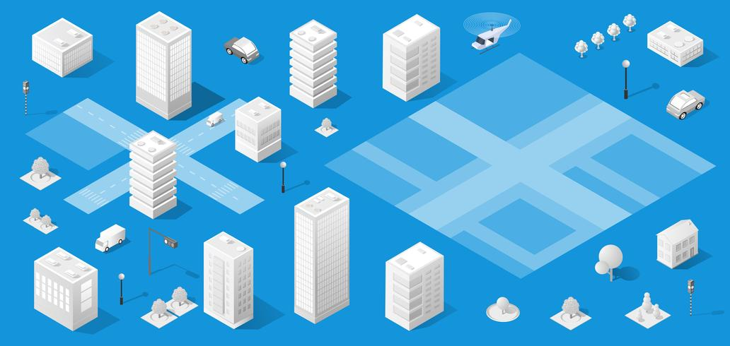 La ville isométrique avec gratte-ciel vecteur