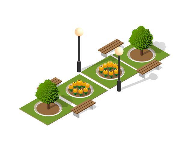 Parc nature avec paysage d'arbres vecteur
