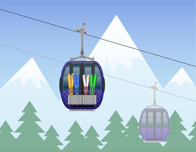 paysage de montagne avec illustration vectorielle de cabine ski téléphérique vecteur