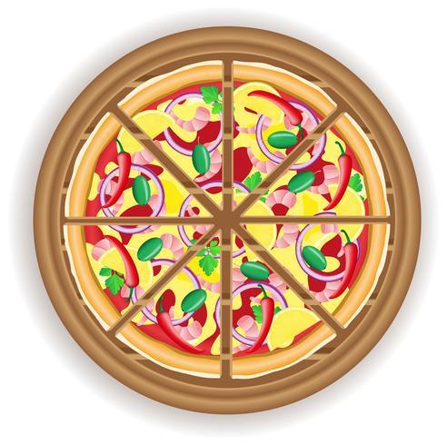 pizza coupée sur une planche de bois vecteur