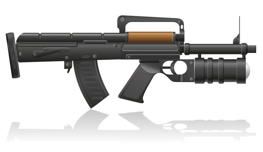 mitrailleuse avec une illustration vectorielle de lanceur de grenade vecteur