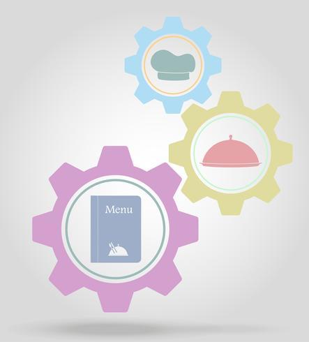 illustration vectorielle de restaurant gear mécanisme concept vecteur