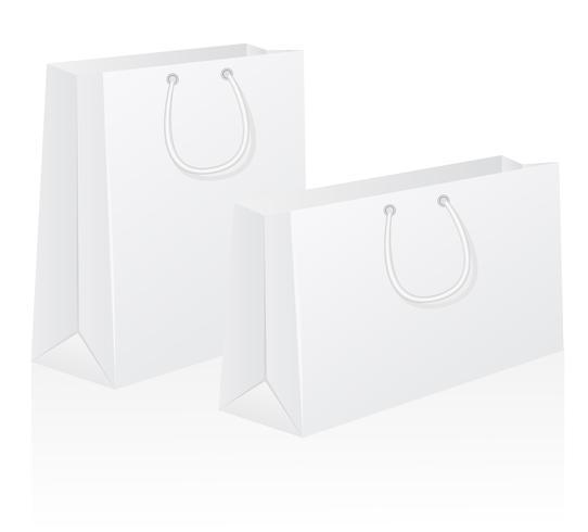 ensemble d'illustration vectorielle de sac de papier blanc blanc shoping vecteur