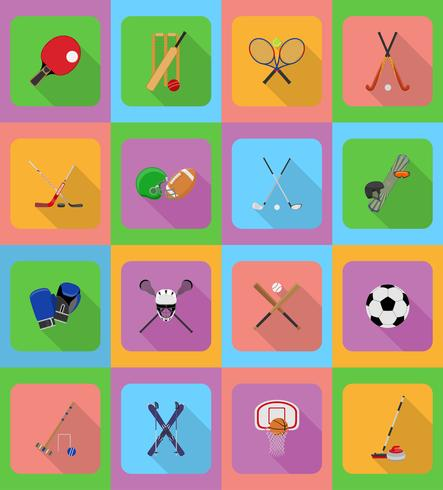 illustration de sport équipement plat icônes vecteur