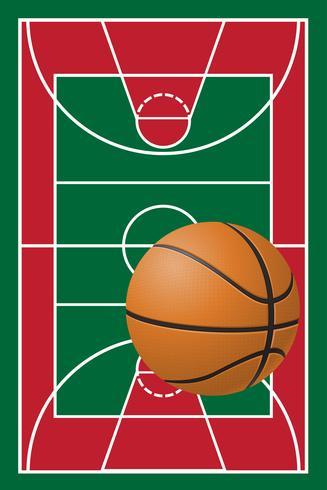 terrain de basket et balle vecteur