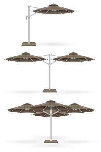 grand parasol pour bars et cafés sur la terrasse ou l'illustration vectorielle de plage vecteur