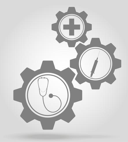 illustration vectorielle de médecine gear mécanisme concept vecteur