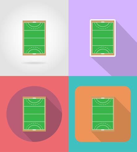 Terrain de jeu au hockey sur les icônes plates d'herbe vector illustration