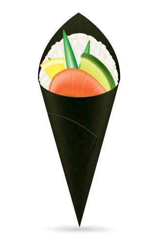 sushi main rouleaux illustration vectorielle vecteur