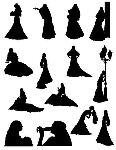 mariée silhouette réaliste définie des icônes illustration vectorielle vecteur