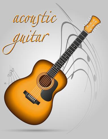 guitare acoustique instruments de musique stock vector illustration