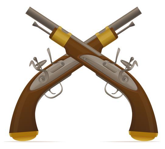 ancienne illustration vectorielle de pistolet à silex rétro vecteur