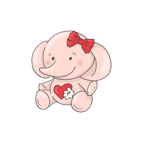 Éléphant de jolie fille de dessin animé mignon. vecteur