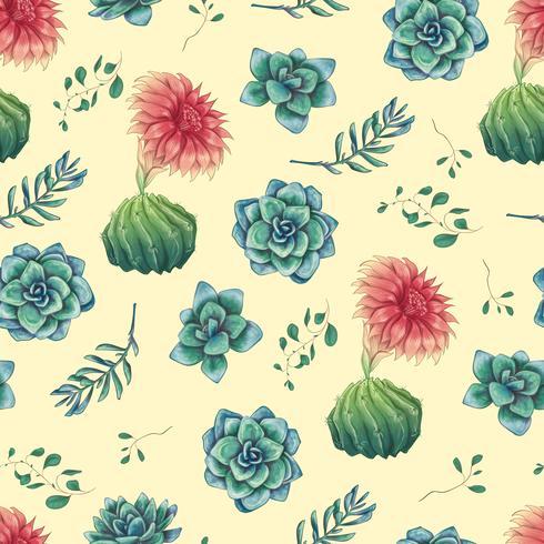 Modèle sans couture décoratif dessiné main avec cactus et plantes succulentes vecteur