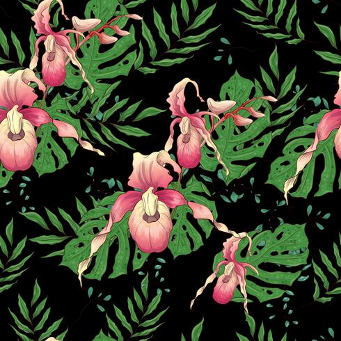 Modèle sans couture dessiné de main Vector avec branche orchidée stylisée pour votre design sur le fond noir