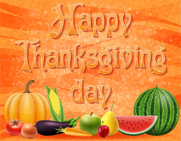 illustration vectorielle de texte joyeux thanksgiving day vecteur