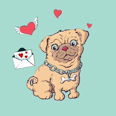 Chiot heureux dessin animé assis, Portrait de mignon petit chien porte le collier. vecteur