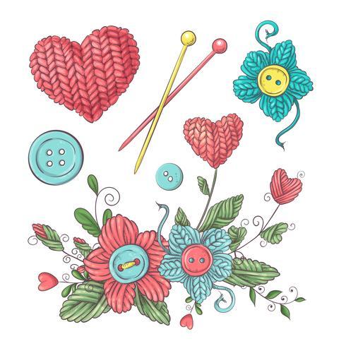 Ensemble de fleurs et éléments tricotés à la main et accessoires pour le crochet et le tricot. vecteur