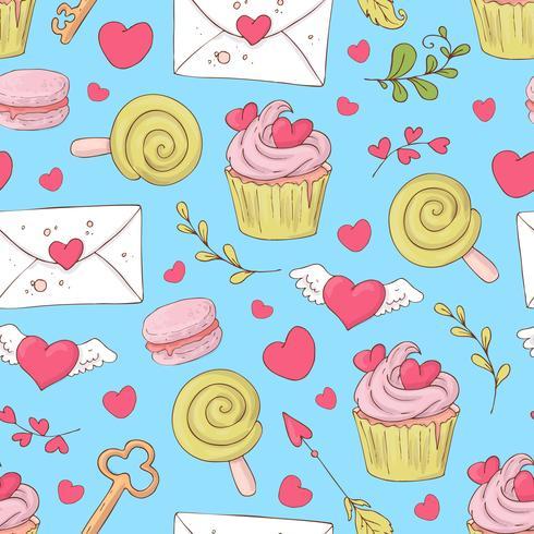 St. Valentine s Day modèle sans couture avec des cupcakes. Illustration vectorielle vecteur